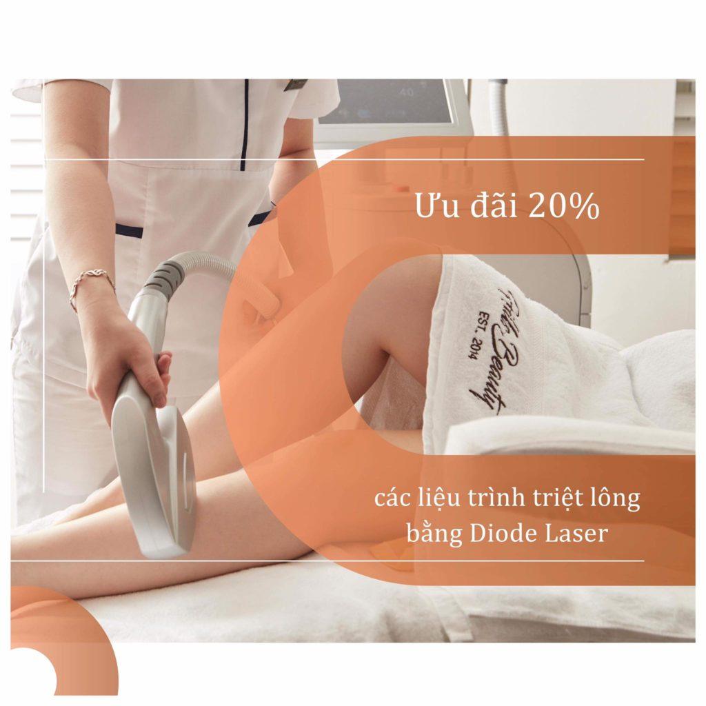 ưu dãi 20% liệu trình triệt lông bằng Diode Laser